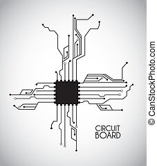 chip and circuit over white background vector illustration
