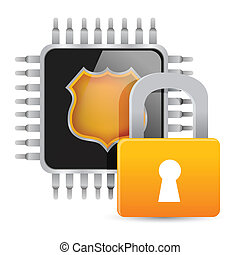 Chip and padlock. Illustration on white background