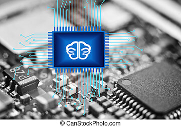 Chip blue, brain on background of black and white microcircuits. Artificial intelligence Data analysis concept and concepts of modern technologies such as nanotechnology, neural networks, machine learning.