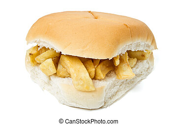 Traditional English chip butty isolated on white.