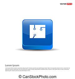 Chip Icon - 3d Blue Button