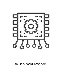 Chip, motherboard with contacts, circuit board line icon.