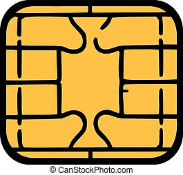 Chip of credit card - sim card chip