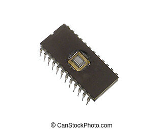 Old EPROM chip on a white background