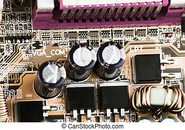 chip on a circuit board computer macro.