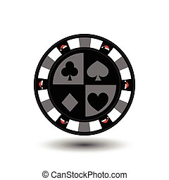 chip poker casino Christmas new year. red Cap around the edge of the gray thing in the middle the diamond, club, spade and heart Icon vector illustration EPS 10 on white easy to separate the background. use for sites, design, decoration, printing, etc.