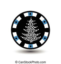 chip poker casino Christmas new year. In the middle of the tree made snowflakes blue Icon vector illustration EPS 10 on white easy to separate the background. use for sites, design, decoration, printing, etc.