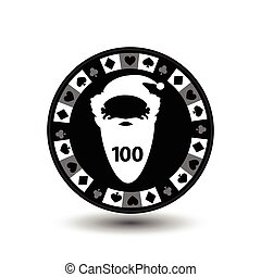 chip poker casino Christmas new year. In the middle of Santa Claus is with the figure a hundred Icon vector illustration EPS 10 on white easy to separate the background. use for sites, design, decoration, printing, etc.