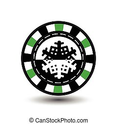chip poker casino Christmas new year. In the middle of the black-and- snowflake a green . Icon vector illustration EPS 10 on white easy to separate the background. use for sites, design, decoration, printing, etc.