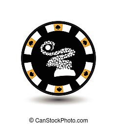 chip poker casino Christmas new year. In the middle of the girl Santa Claus gray the edge the spades, hearts, clubs, diamonds. Icon vector illustration EPS 10 on white easy to separate the background. use for sites, design, decoration, printing, etc.