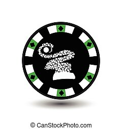 chip poker casino Christmas new year. In the middle of the hood made snowflakes green Icon vector illustration EPS 10 on white easy to separate the background. use for sites, design, decoration, printing, etc.