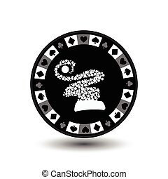 chip poker casino Christmas new year. In the middle of the hood snowflakes gray Icon vector illustration EPS 10 on white easy to separate the background. use for sites, design, decoration, printing, etc.