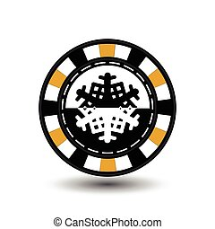 chip poker casino Christmas new year. In the middle of the black-and- snowflake the yellow . Icon vector illustration EPS 10 on white easy to separate the background. use for sites, design, decoration, printing, etc.