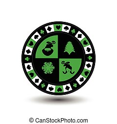 chip poker casino Christmas new year. In the middle of Santa Claus, girl , tree and snowflake a green . Icon vector illustration EPS 10 on white easy to separate the background. use for sites, design, decoration, printing, etc.