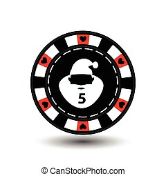 chip poker casino Christmas new year. In the middle of Santa Claus with a number five red Icon illustration EPS 10 on white easy to separate the background. use for sites, design, decoration, printing, etc.