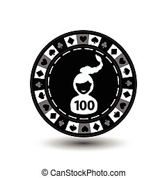 chip poker casino Christmas new year. In the middle of the girl s Santa Claus with the figure a hundred Icon vector illustration EPS 10 on white easy to separate the background. use for sites, design, decoration, printing, etc.