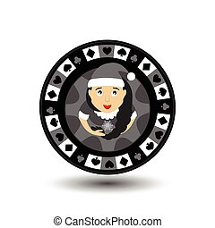 chip poker casino Christmas new year. In the middle of the girl Santa Claus with a scythe the grey . Icon vector illustration EPS 10 on white easy to separate the background. use for sites, design, decoration, printing, etc.
