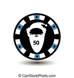 chip poker casino Christmas new year. In the middle of the Santa Claus with numeral fifty Icon vector illustration EPS 10 on white easy to separate the background. use for sites, design, decoration, printing, etc.