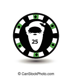 chip poker casino Christmas new year. In the middle of Santa Claus is with the number twenty-five Icon vector illustration EPS 10 on white easy to separate the background. use for sites, design, decoration, printing, etc.