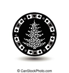 chip poker casino Christmas new year. In the middle of the tree made snowflakes gray Icon vector illustration EPS 10 on white easy to separate the background. use for sites, design, decoration, printing, etc.