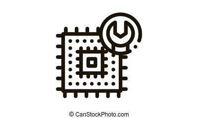 Chip Repair Icon Animation. black Chip Repair animated icon on white background