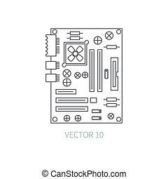 chip., simple., 計算, コンピュータ, 電子, あなたの, design., data., -, style., systems., pc, it., 平ら, イラスト, server., 部分, 線, monochrome., 漫画, アイコン, collection., motherboard., 要素, ベクトル