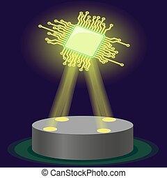 chip., technology., cpu., vecteur, nouveau, hologramme