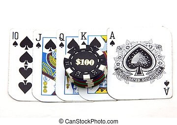 chip with card - money chip with royal straight flush card