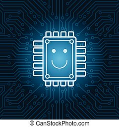 Chip With Smiling Face Icon Over Blue Circuit Motherboard...