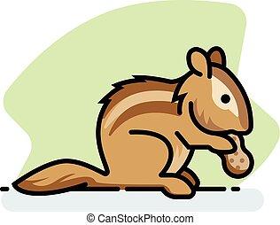 Chipmunk - A spot illustration of a chipmunk eating a...