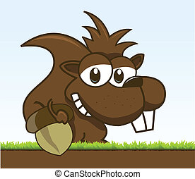chipmunk holding his acorn - vector illustration of a...