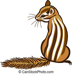 Chipmunk - vector illustration of a chipmunk sitting with...