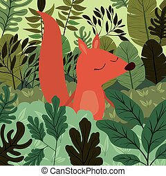 chipmunk in the forest scene vector illustration design