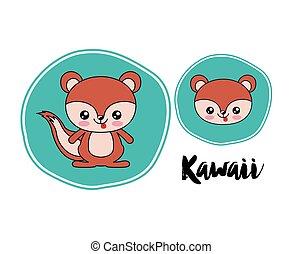 chipmunk kawaii style isolated icon design