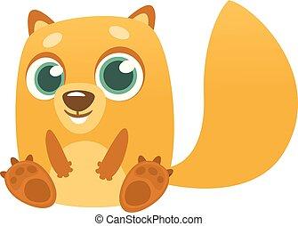chipmunk, marmotta, o, cartone animato, seduta
