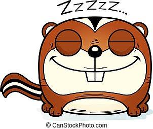 chipmunk, napping, cartone animato