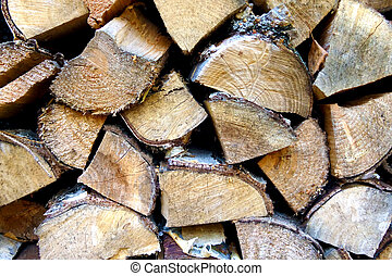 chipped birch wood for the stove, rural life, background.