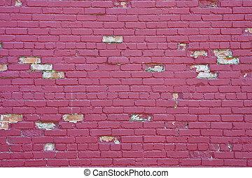 Chipped Purple Brick Wall