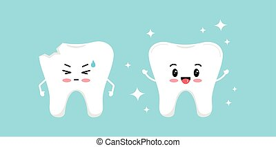 Chipped tooth and healthy tooth before, after treatment icon set.