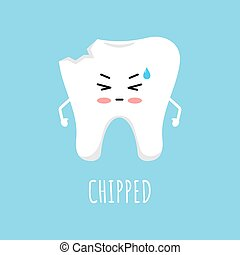 Chipped tooth icon isolated on blue background.