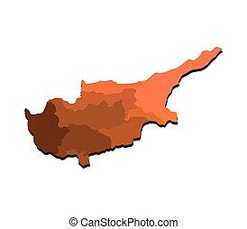 chipre, mapa, con, regiones