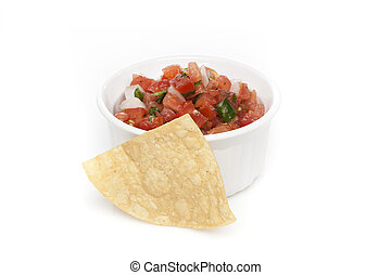 Chips and Fresh salsa in a bowl