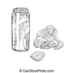 Chips and Soda Monochrome Sketch Style Icon Set - Fast food...