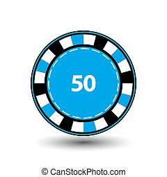chips blue 50 for poker an icon on the white isolated background. illustration eps 10 vector. To use the websites, design, the press, prints...