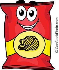 chips, caractère, dessin animé, pomme terre