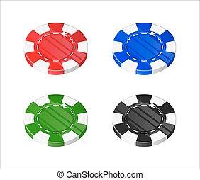 Chips casino cartoon style isolated set