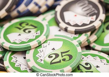 chips-, casino, concept, geluksspelletjes