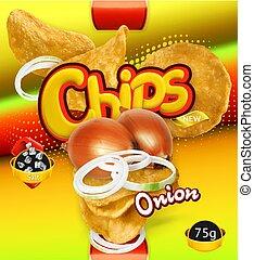 chips., cipolla, patata, imballaggio, vettore, disegno, sagoma, flavor., 3d