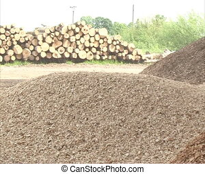 sawdust, shavings chips crumble to pile log crushing natural organic bio fuel production. fuels used in boilers.