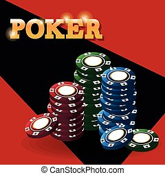 Chips for poker and casino game design - Chips icon. Poker...